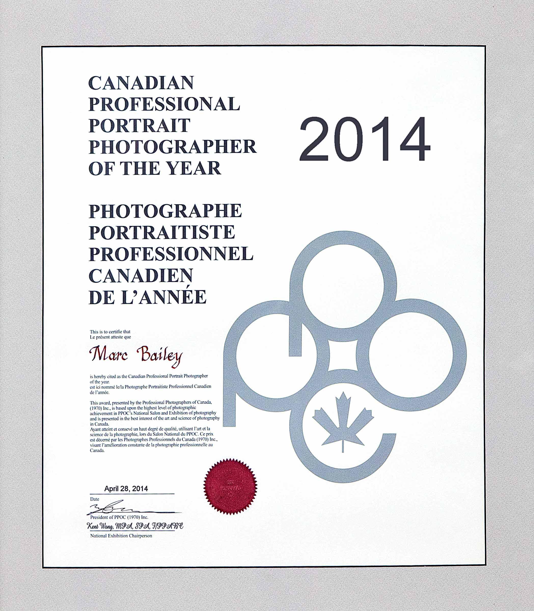 photographe de l'année 2014 Canada