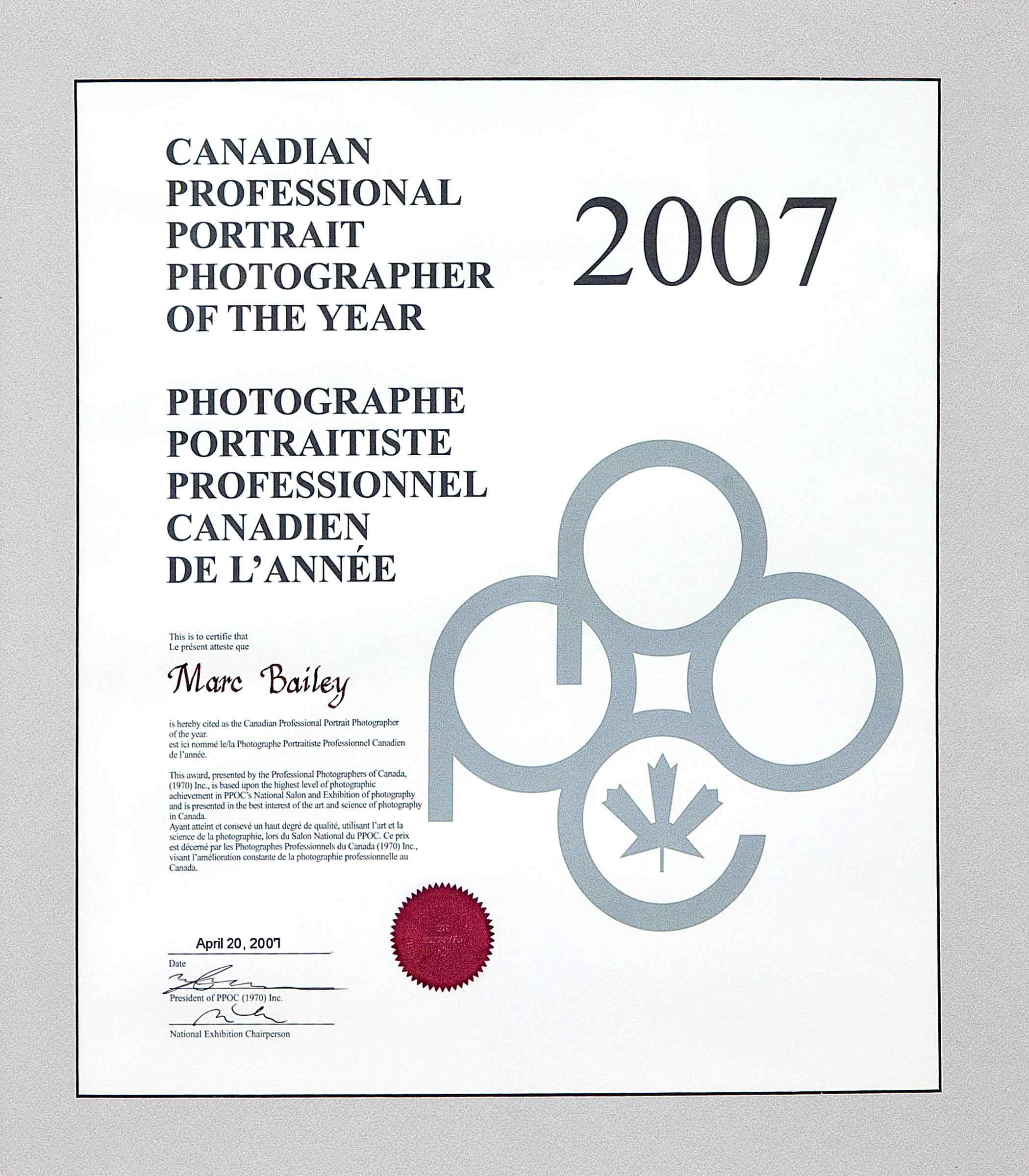 Photographe de l'année Canada Marc Bailey
