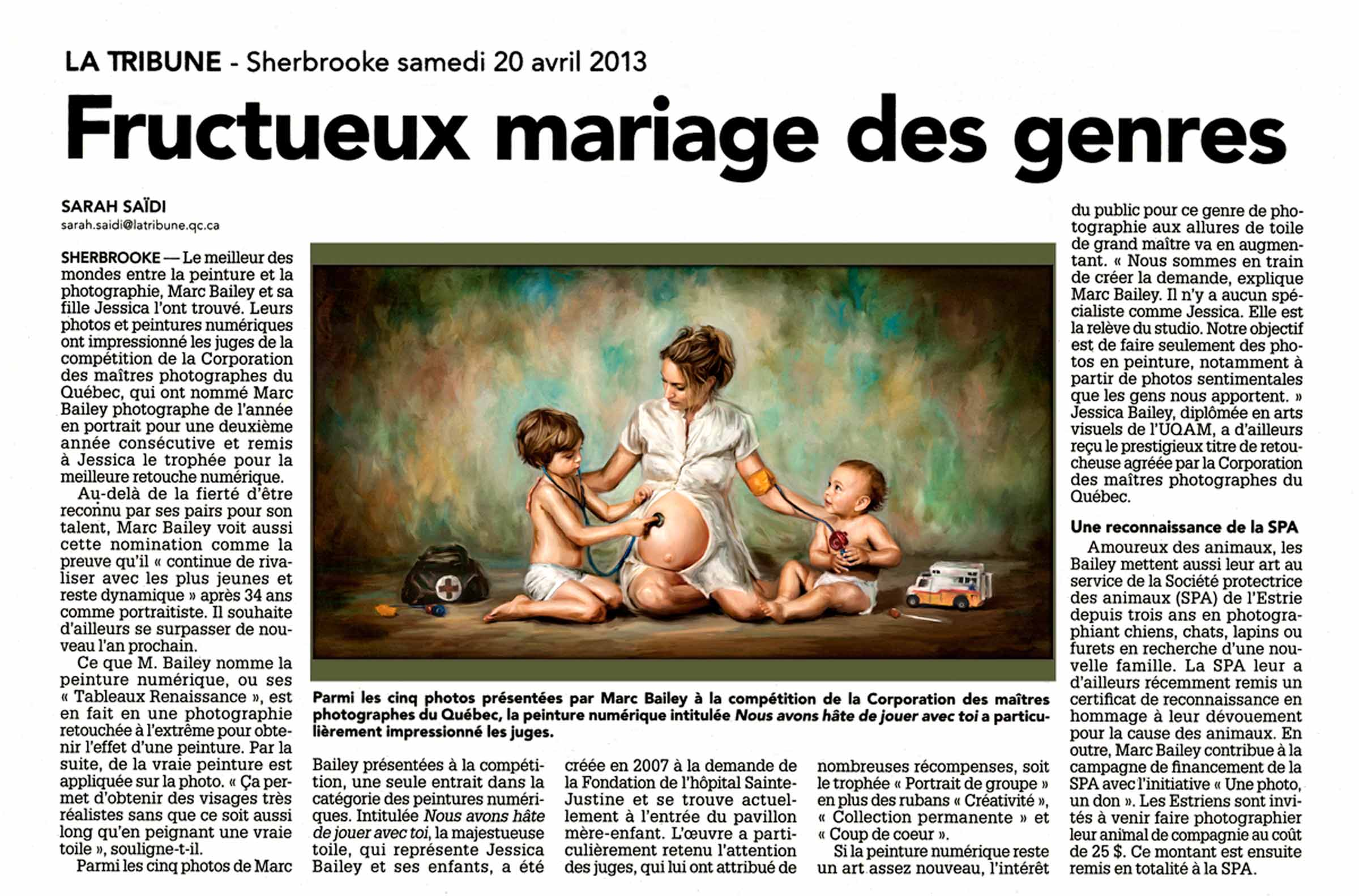 Article journal La Tribune Photographe Sherbrooke Marc Bailey
